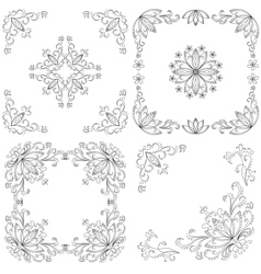 Set abstract floral backgrounds outline vector image vector image