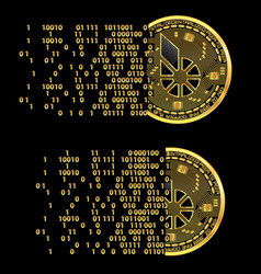 set of crypto currency bitshares golden symbols vector image vector image