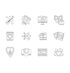 Set of love events line icons vector image
