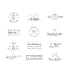 set of retro vintage construction logo or insignia vector image vector image