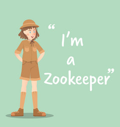 zookeeper character on green background flat vector image