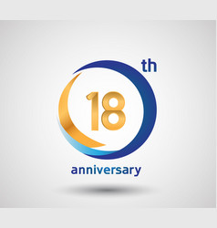 18 anniversary design with blue and golden circle vector