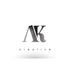 Ak logo design with multiple lines and black vector