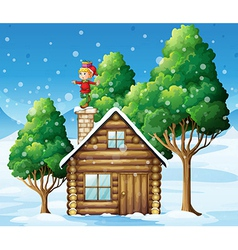 An elf above house in snowy land vector