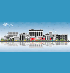 athens greece city skyline with color buildings vector image