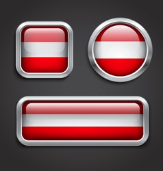 Austria flag glass buttons vector image