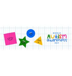 Autism awareness day geometric shape banner vector