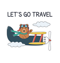 bear on plane holiday and travel vector image