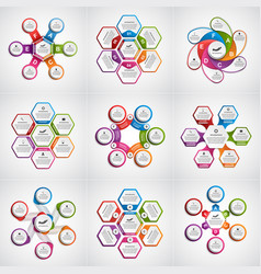 big collection colorful infographics design vector image