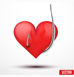 Big realistic heart hung by fishhook vector image