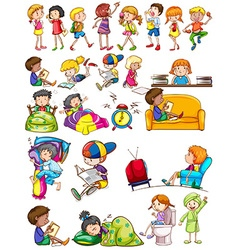 Boys and girls doing activities vector
