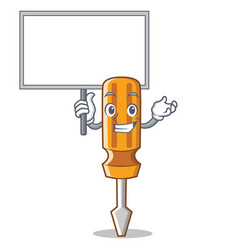 bring board screwdriver character cartoon style vector image