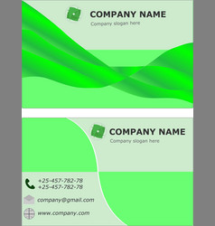 Business card set template visit brochure green vector