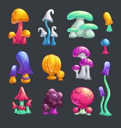 Cartoon colorful fantasy glossy mushrooms vector