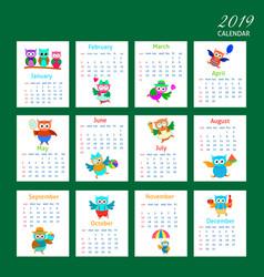 Cartoon owls calendar 2019 design vector