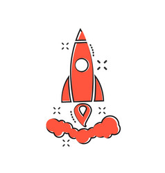 cartoon rocket icon in comic style startup launch vector image
