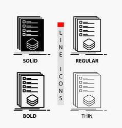 Categories check list listing mark icon in thin vector