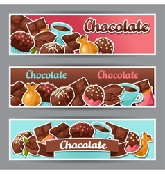Chocolate horizontal banners with various tasty vector