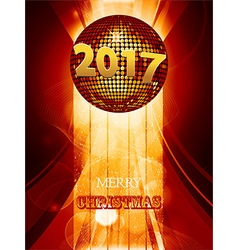 Christmas 2017 glowing background with disco ball vector image