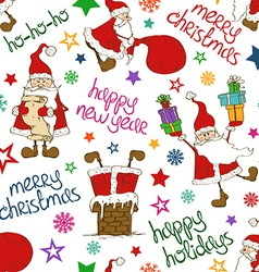 Christmas And New Year Seamless Pattern With Funny vector image
