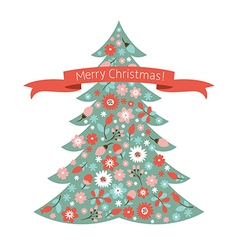 Christmas tree with flowers vector image