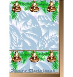 Christmas window with golden bells vector image