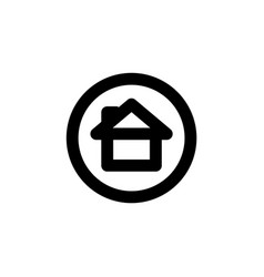 Circle line icon with home editable stroke simple vector