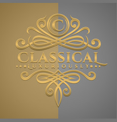 Classic luxurious letter c logo with embossed vector