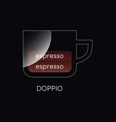 Coffee cup with doppio isolated on black vector