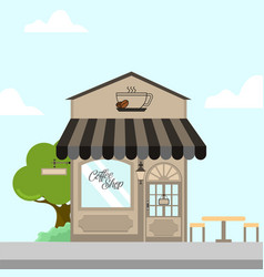 Coffee shop storefront building background vector