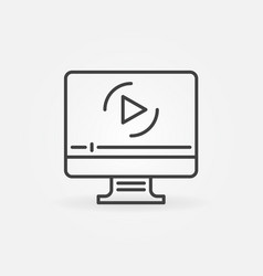 computer with online video outline icon vector image