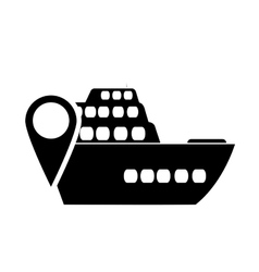 Cruise ship and gps map pointer icon vector