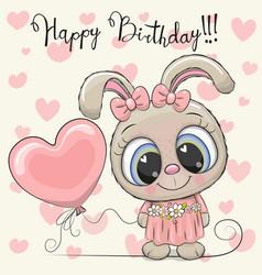 cute cartoon rabbit girl with a balloon vector image