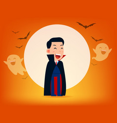 cute dracula character with old scyhalloween vector image