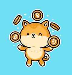 Cute funny akita inu dog juggle gold dogecoin vector
