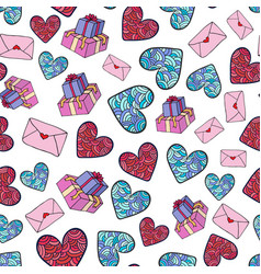 Cute romantic pattern with gifts hearts and vector