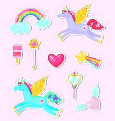 cute stickers set vector image