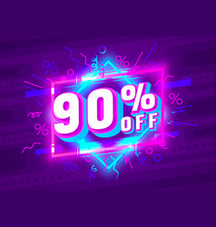 cyber 90 off sale banner light neon flyer retro vector image
