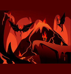 Dark underworld in flames vector