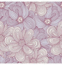 Doodle style flowers seamless pattern Floral vector image