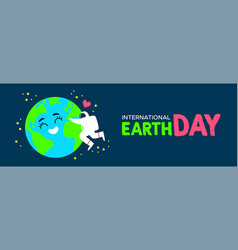 Earth day banner of astronaut hugging planet vector