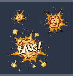 Explosion animation in cartoon style vector