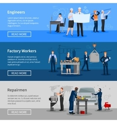 Factory Workers Horizontal Banners vector image