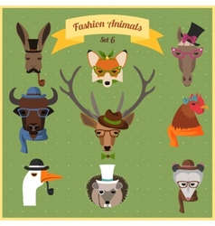 Fashion Hipster Animals set 6 vector image