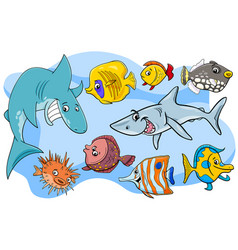 fish marine animal cartoon characters group vector image
