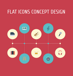 Flat icons karaoke harmonica tambourine and vector