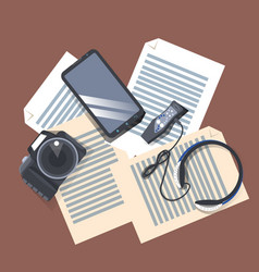 Gadgets on workplace top angle view modern camera vector