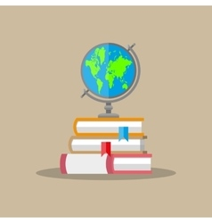 Globe pile of books education concept vector