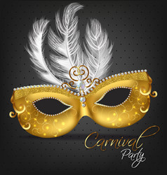 golden ornamented mask with feathers vector image