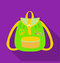 Green hippy backpackhippy single icon in flat vector